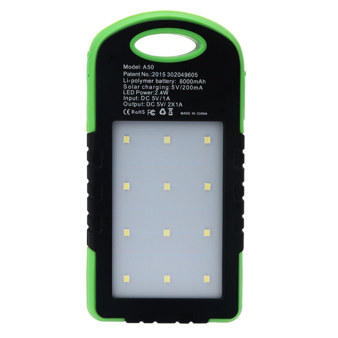 Gotd 10000mAh Portable Solar Charger LED Dual USB External Battery Power Bank, Green