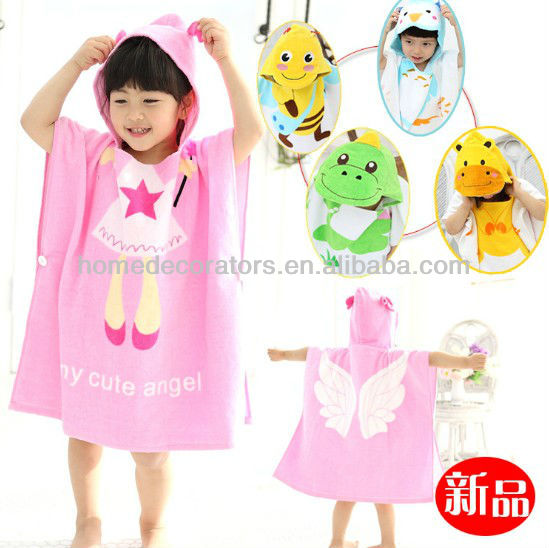 Cartoon style cotton hooded baby bathrobe infant bath robe beach towel children's cloak poncho
