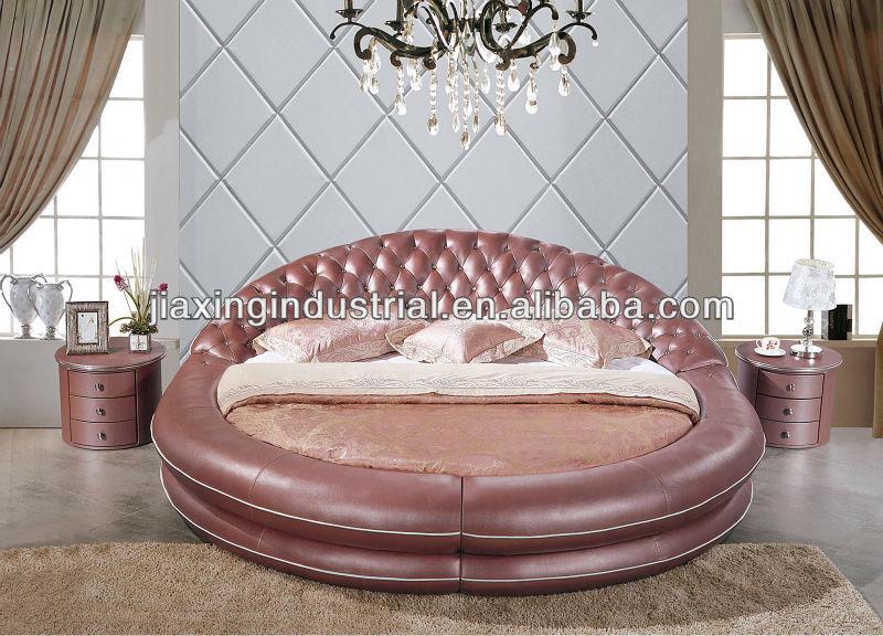 Modernos diseños de cama cama redonda de cuero suave en venta B02 ...