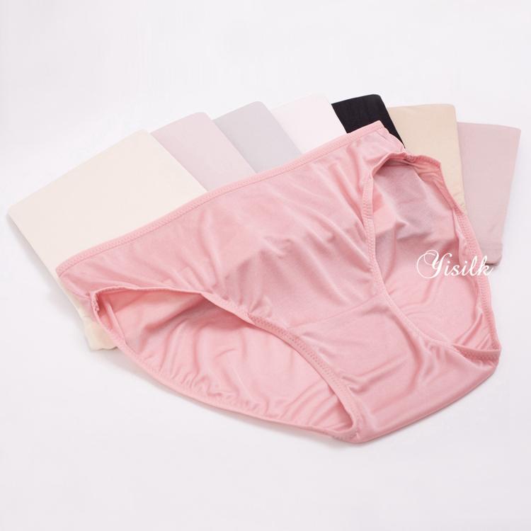 27cfa5870890 2pieces Women's knitted silk briefs mulberry silk mid waist panties M L XL  Black Light Pink 8colors