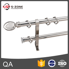 Home Decor Hardware stainless steel pipe double shower curtain rod