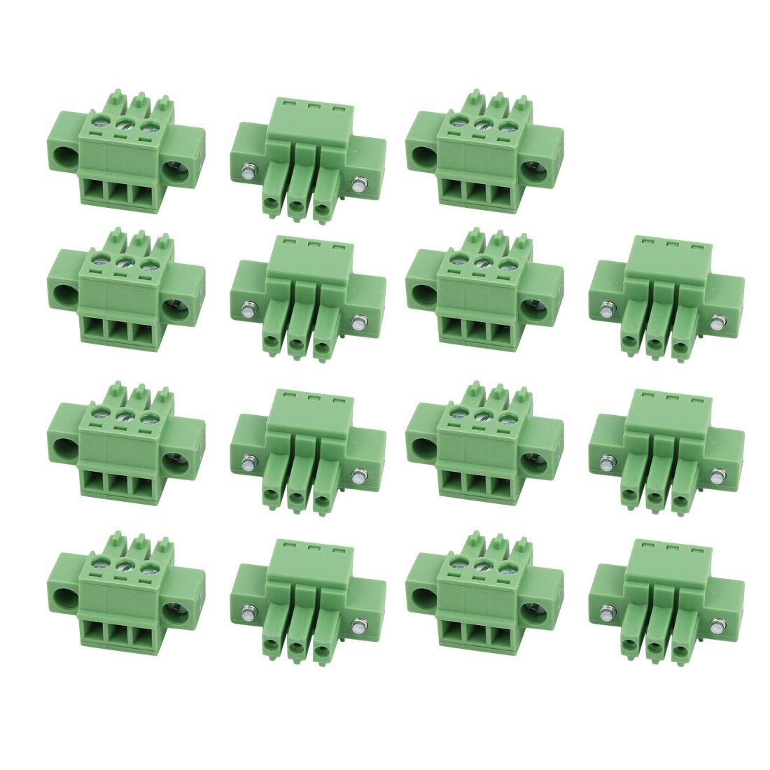 uxcell 15Pcs LC1M AC300V 8A 3.5mm Pitch 3P PCB Terminal Block Wire Connection