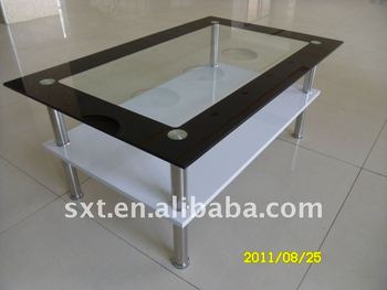 Modern Wooden Center Table With Glass Top