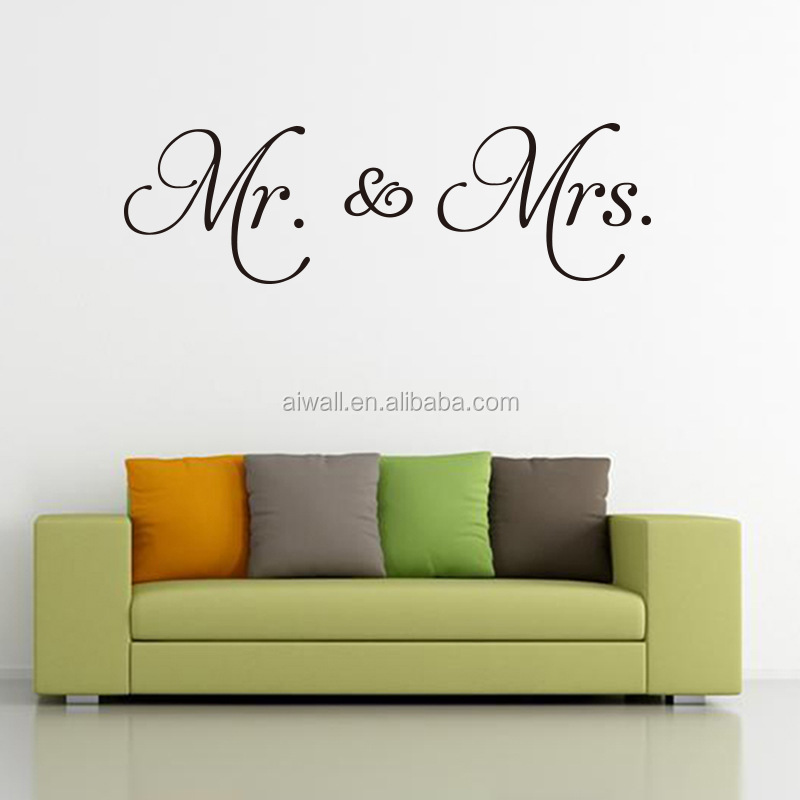 AW9782 Mr Mrs Quote Wall Sticker Vinyl Removable English Words Quote Decals for Couples Love Room Mr Mrs Home <strong>Decoration</strong>