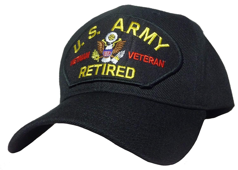 abe23298a3a90 Vietnam ERA Veteran Baseball Cap Black Hat Vet National Defense Ribbon  13.9. Army Vietnam Veteran Retired Cap