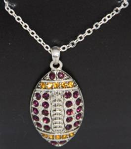 LSU Tigers or NFL Minnesota Vikings or Baltimore Ravens Purple & Gold Rhinestone Football Necklace Gift Boxed on 18 inches Chain - Celebrate NCAA LSU or NFL Minnesota Vikings Football.SALE