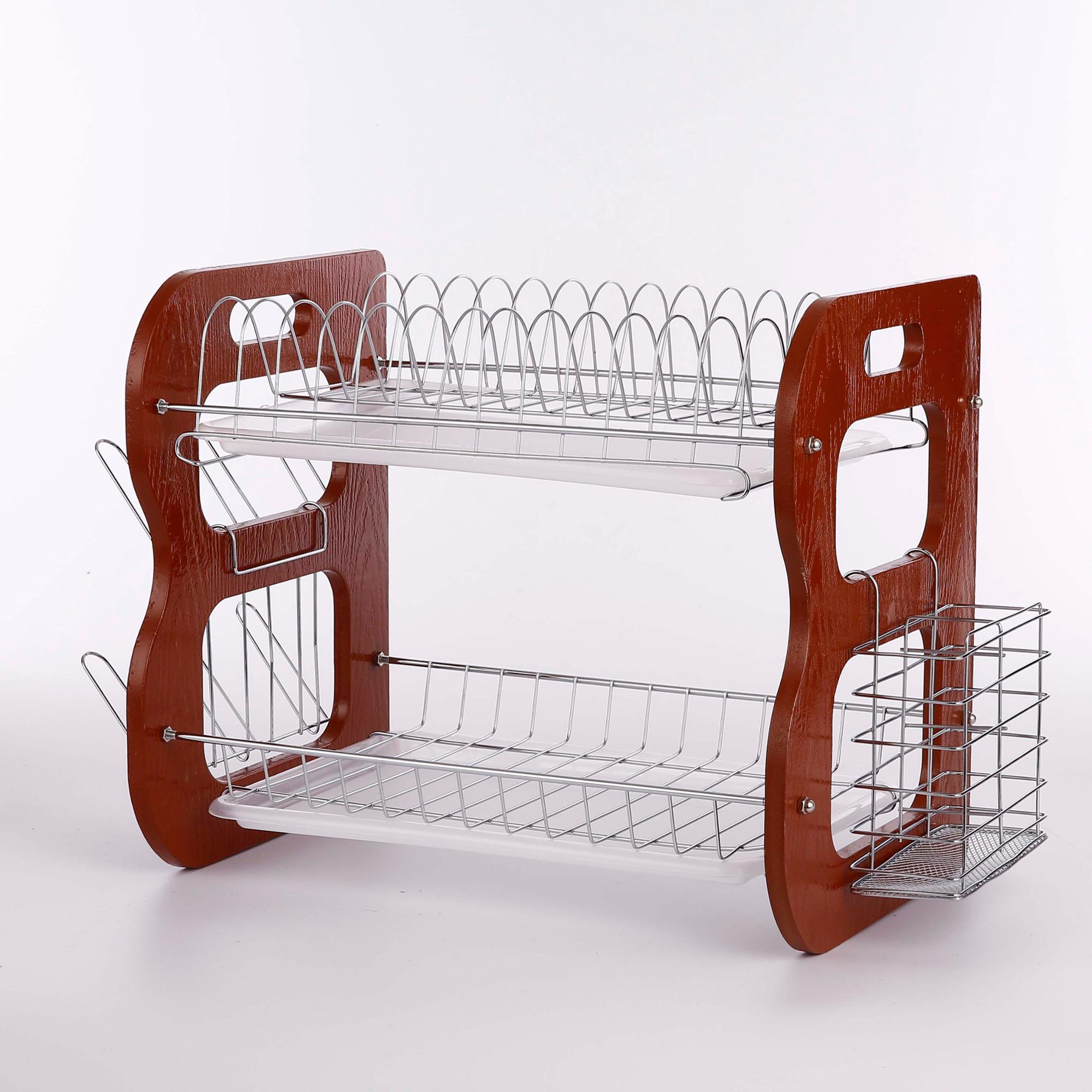 WL272A two plastic trays wooden dish racks
