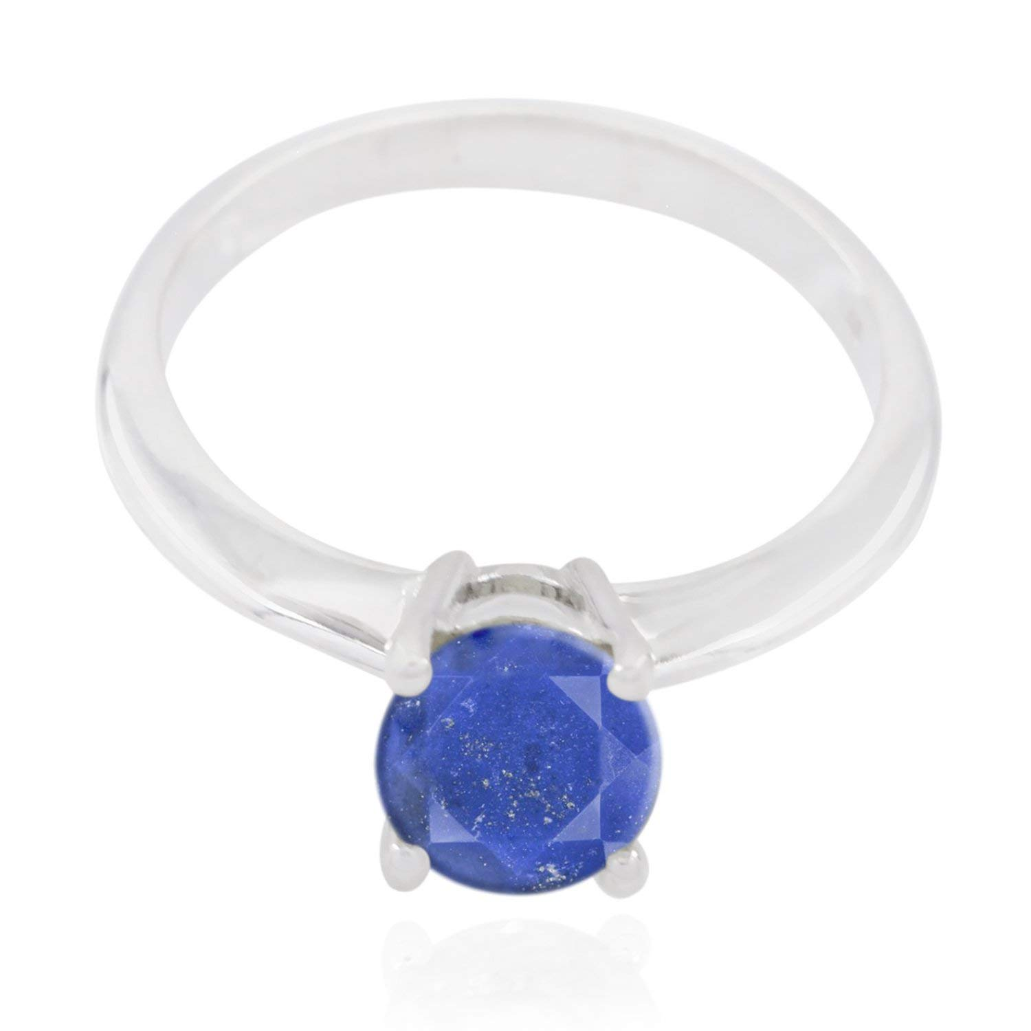 Good Gemstones Round Faceted Lapis-Lazulis Ring - Fashion Silber Blue Lapis-Lazulis Good Gemstones Ring - Unique Jewelry Great Item Christmas for mom Monogram Stack Ring -US 4