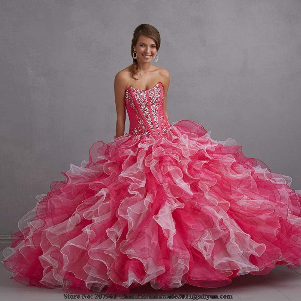 Hot Pink Quinceanera Dresses 2016 Ball Gown Sweetheart ...