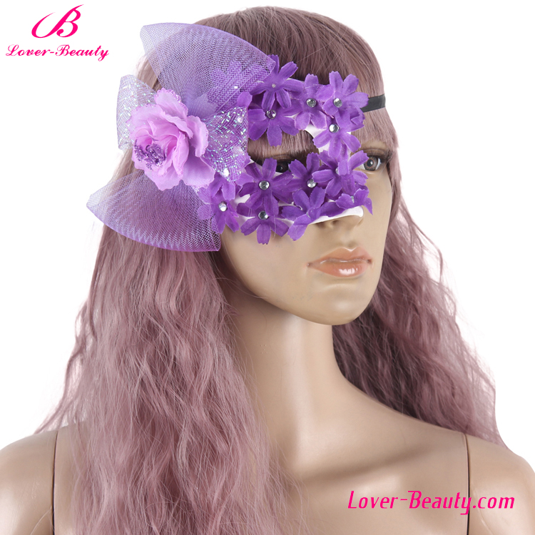 OEM design single face lace purple masquerade party face mask for sale