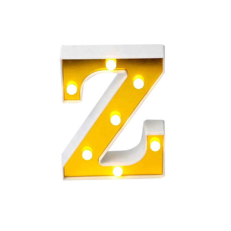Z شكل الذهبي ثلاثية الأبعاد لافتة بأحرف Led الديكور رسالة الزفاف Led بطارية Led الأبجدية