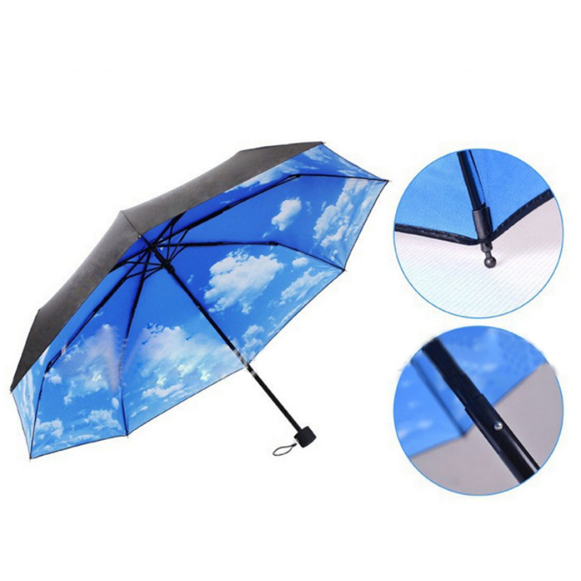 new the super anti uv sun protection umbrella blue sky 3 folding gift parasols rain umbrellas. Black Bedroom Furniture Sets. Home Design Ideas