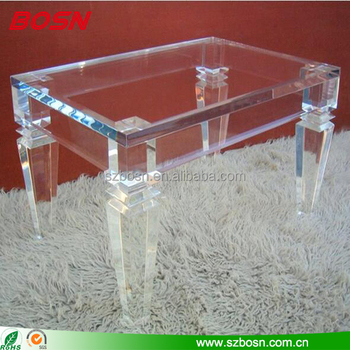 Rectangle Clear Acrylic Coffee Table Modern Style Plexiglass Furniture Console