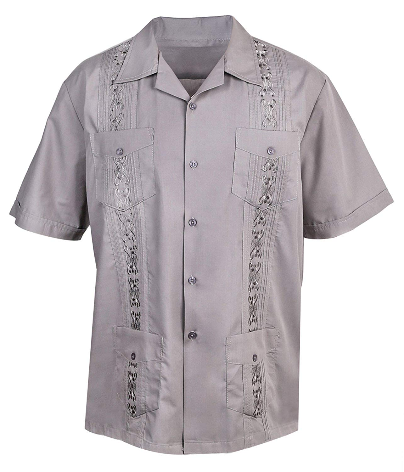Urban Fox Mens Guayabera Shirts for Men | Short-Sleeve Shirt | Cuban | Wedding | Barong | Beach