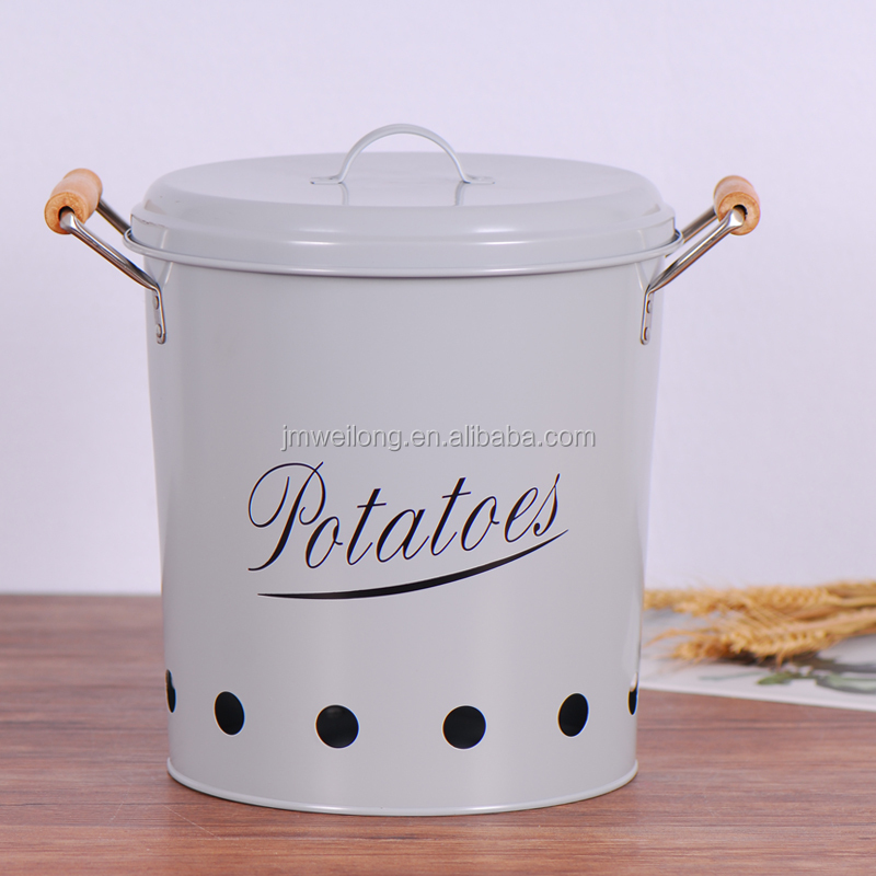 Great Metal Vegtable Canister Potato Storage Tin Kitchen Storage Bin
