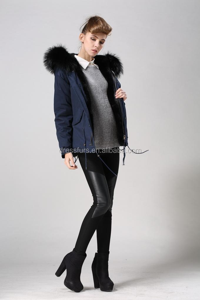 Black Faux Fur Lining Mens Parka Coats Uk With Drak Blue Cotton ...