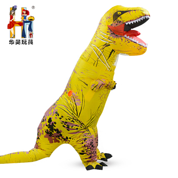 funny adult inflatable halloween carnival party yellow t rex dinosaur inflatable costume blow up costumes