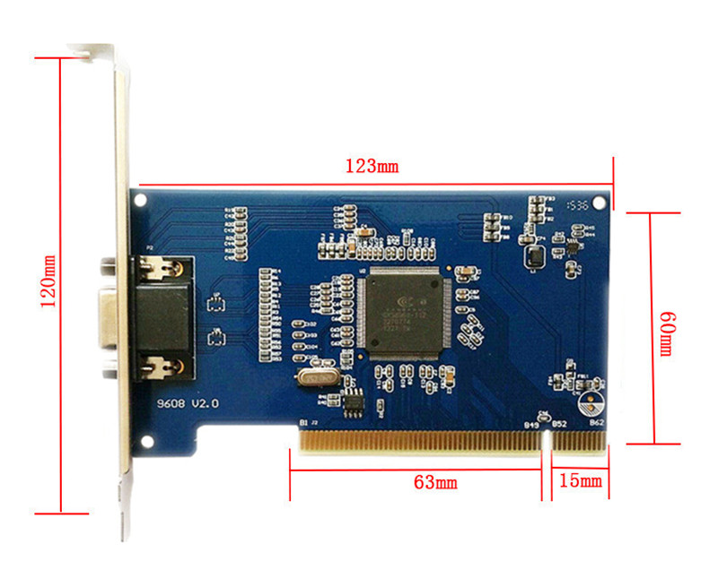 H.264 Video Compression 8ch 960H HD Monitoring Analog Video Capture Card PCI Interface VGA output 4ch audio input