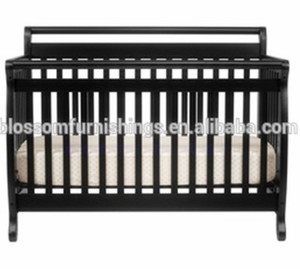 4 in 1 wood baby convertible crib in ebony color