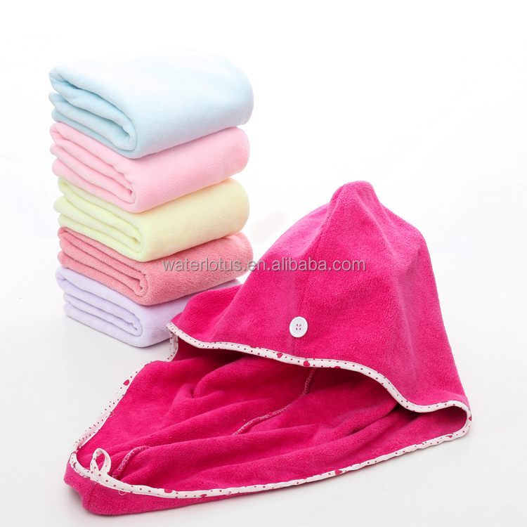 Wholesale OEM cheap super water absorption microfiber hair drying cap head hair towel wrap for women