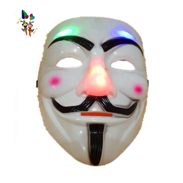 Plastic V voor Vendetta Halloween Masquerade Led Party Maskers Mannen HPC-0474