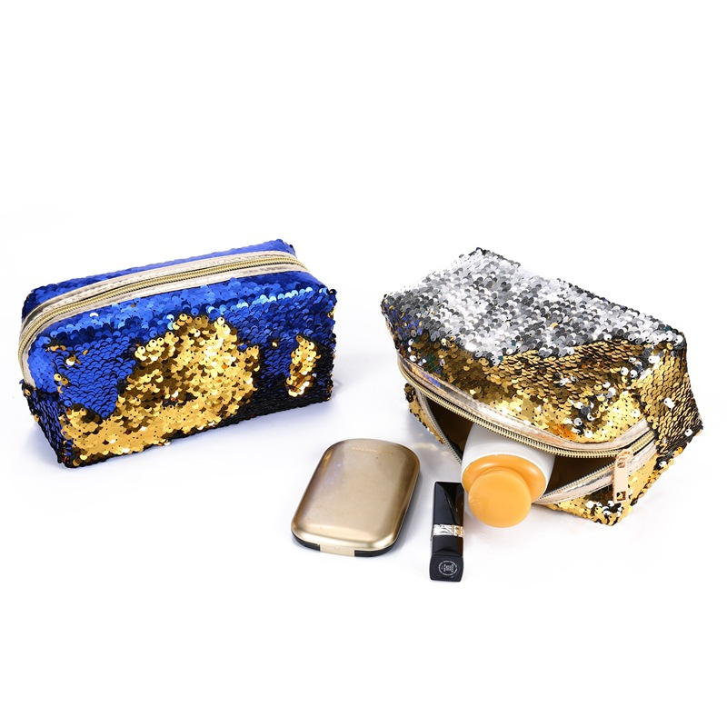Mermaid Sequins Cosmetic Bag Large Capacity Clutch Handbag Evening Clutch Makeup Bag Pouch