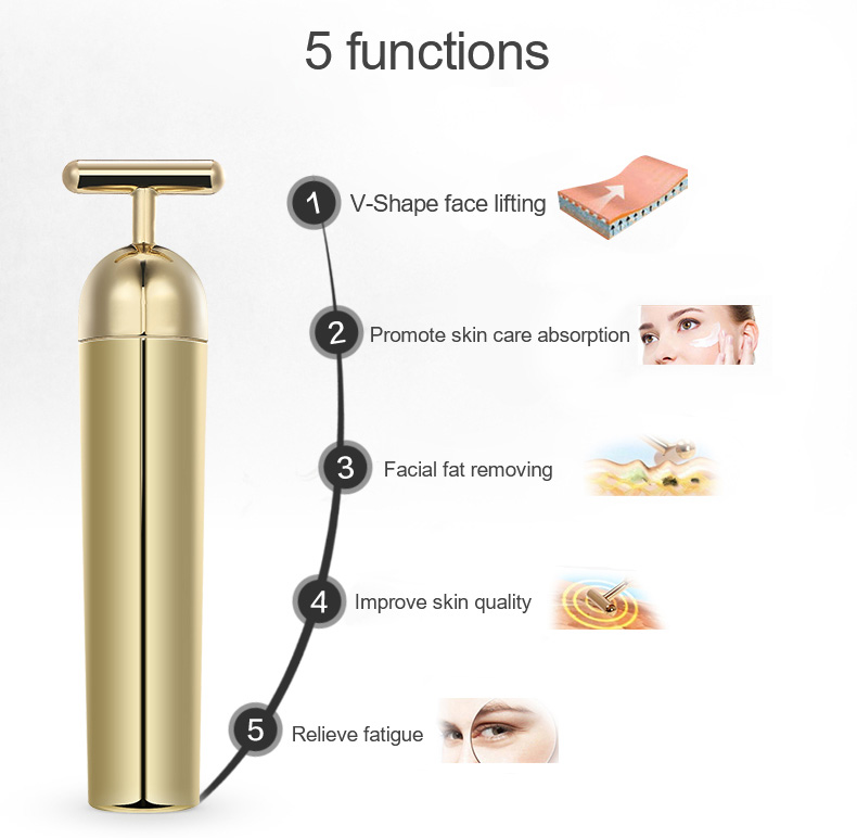 Mini Electric Personal Vibration Function 24K Gold Energy Beauty Bar Facial Massager For Face Beauty Lifting Tools