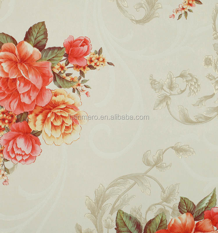 1.06M Flower Fireproof PVC wallpaper designs for ktv