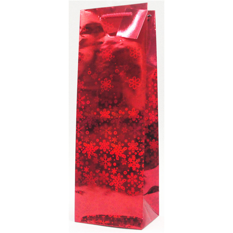 Hot Selling Red Packaging Paper Wine Bag With Handle, Recycle Shopping Paper Carry Bags