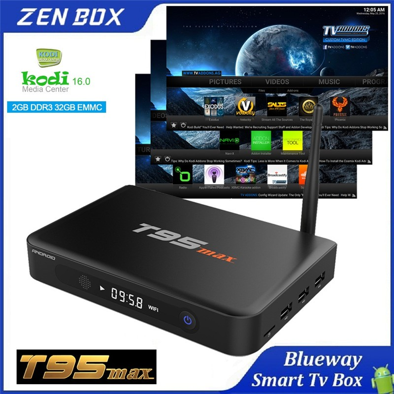 T95 max Android 5.1 TV Box KODI 16.0 DDR3 2G EMMC 32G Amlogic S905 Quad Core With 2.4G/5G WiFi Bluetooth 4.0 Smart TV Receiver