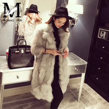 European Style Top Selling Real Fox Fur Products Cheap Women Knee Length Winter Coat