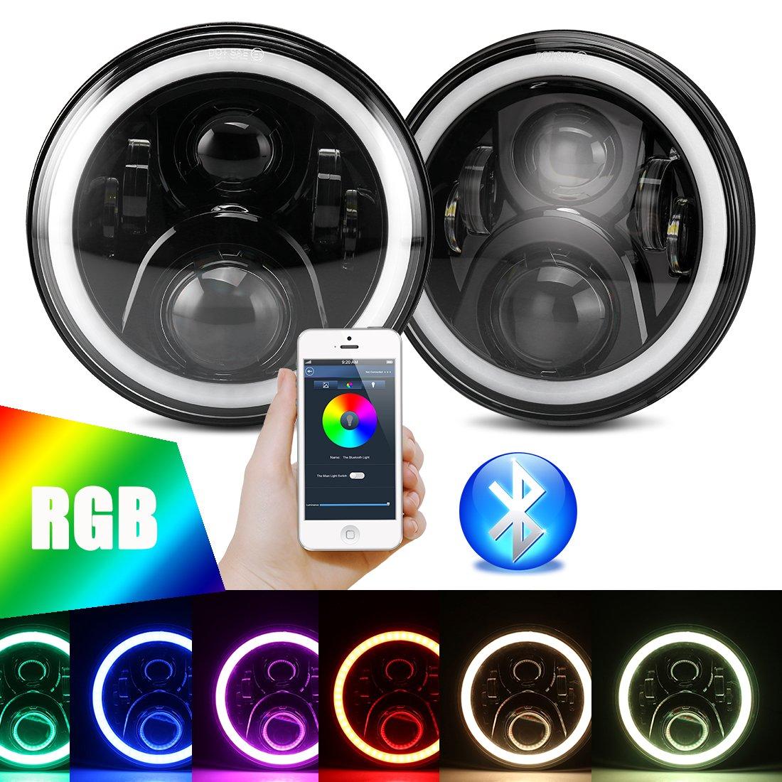 "7 inch LED RGB Headlight,7"" Round DRL Headlamp Flashing RGB Angel Eye Halo Ring Bluetooth Controlled for Jeep Wrangler JK LJ CJ TJ"