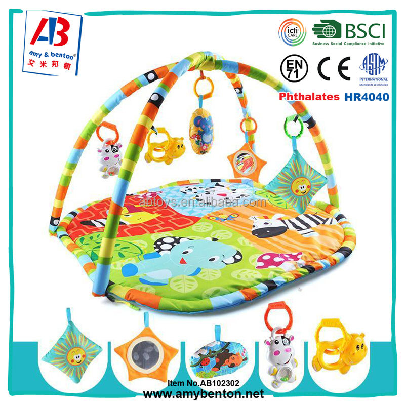 High quality non-toxic plush baby play mat with sound and light