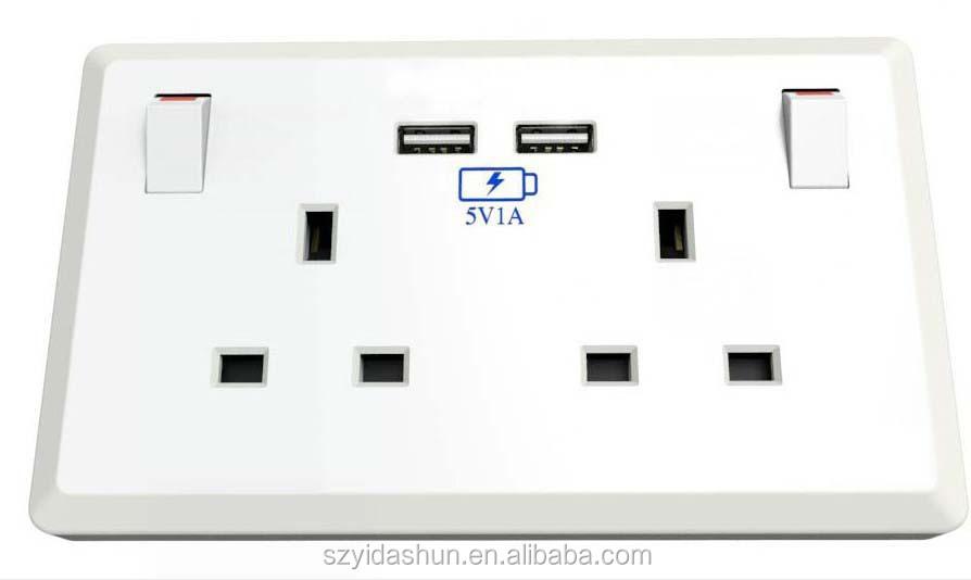 Wall Socket Italian Usb Brushed Chrome Sliver 250v 13a
