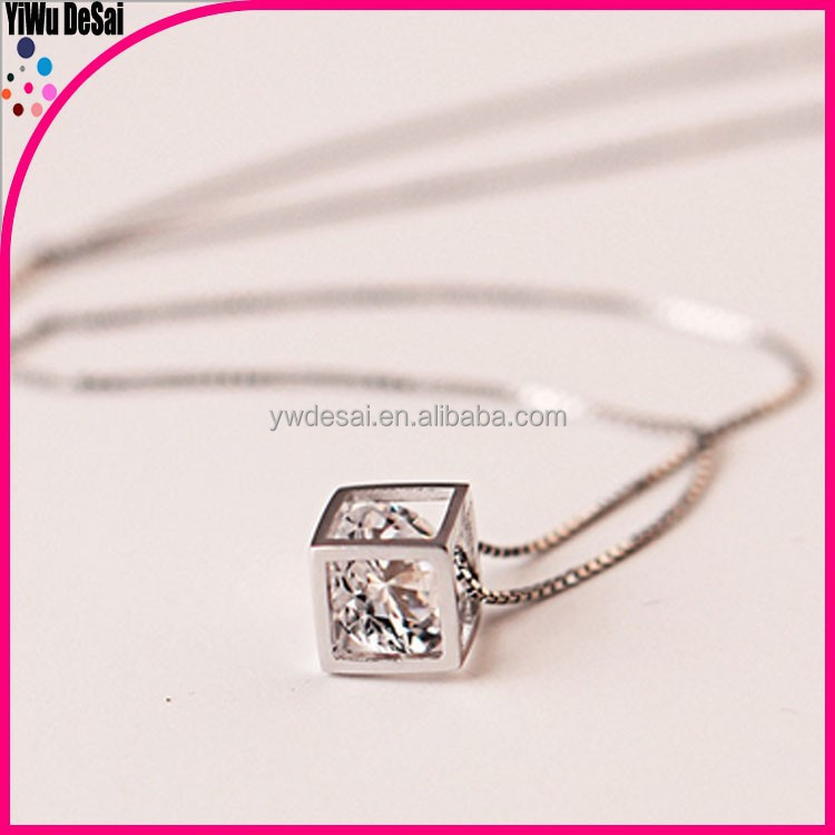 The new 925 sterling silver necklace Love rubik's cube necklace