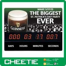 Advertising Sign Rare Guinness Beer St. Patrick's Day Countdown Clock Display