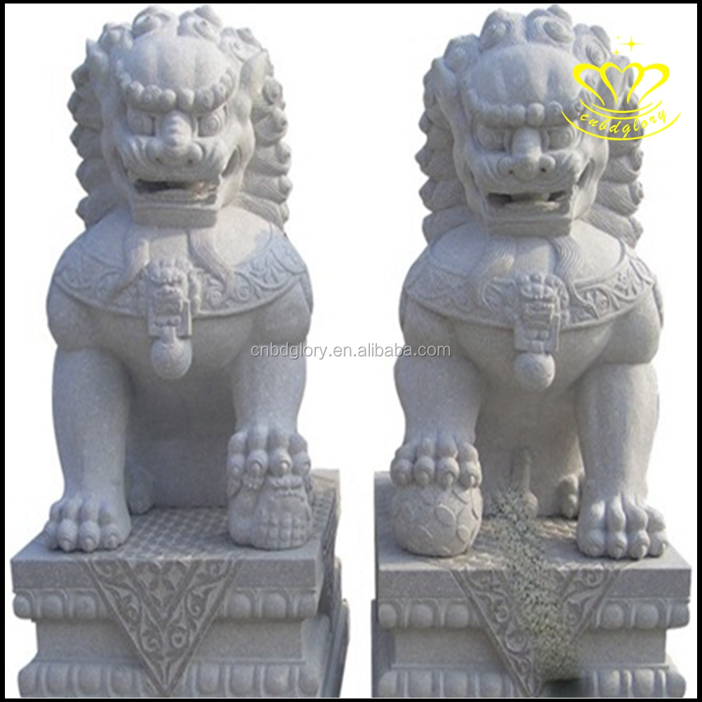 chinese stone carving antique white marble garden stone lion statue