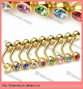 Gold Plated Diamond Eyebrow Ring Barbell with two Gemmed Ball Ends