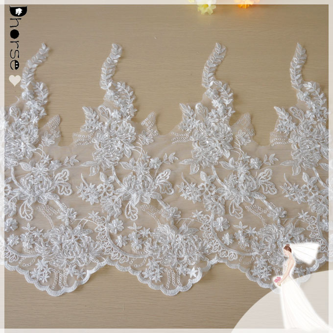 DHBL1810 Sunflower Wide Lace Trim Tulle Bridal Wedding Veil Embroidered Fabric