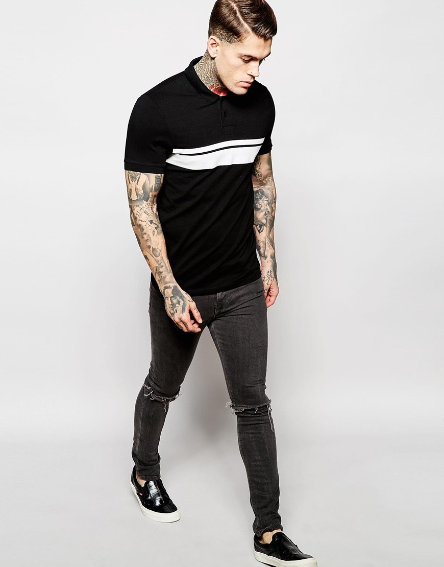 Black t shirt unisex - Summer Black And White Stitching Two Color T Shirt Color Combination Polo Shirt Women Men Unisex