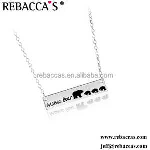 Europe and America Jewelry Mother's Day Gift MaMa Bear Alloy Animal Custom Pendant Necklace Charm