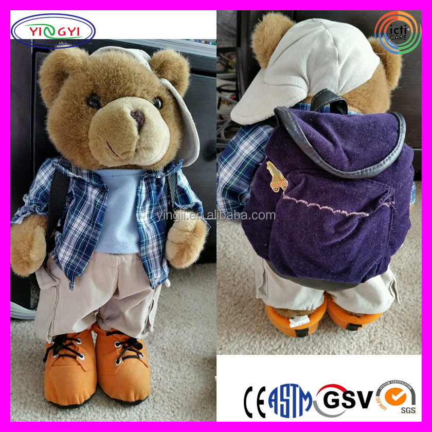 B409 Factory Vintage Teddy Bear Hiking Backpack Aztec Plush Brown Clothes Cap Aztec Backpack