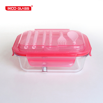 Leak proof airtight meal prep picnic food container with cutlery