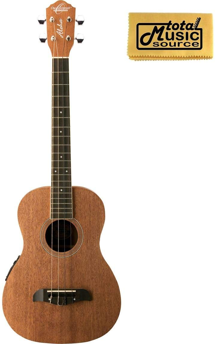 Oscar Schmidt OU52E Acoustic/Electric Baritone Ukulele w/ EQ, TMS Polishing Cloth, OU52E PC