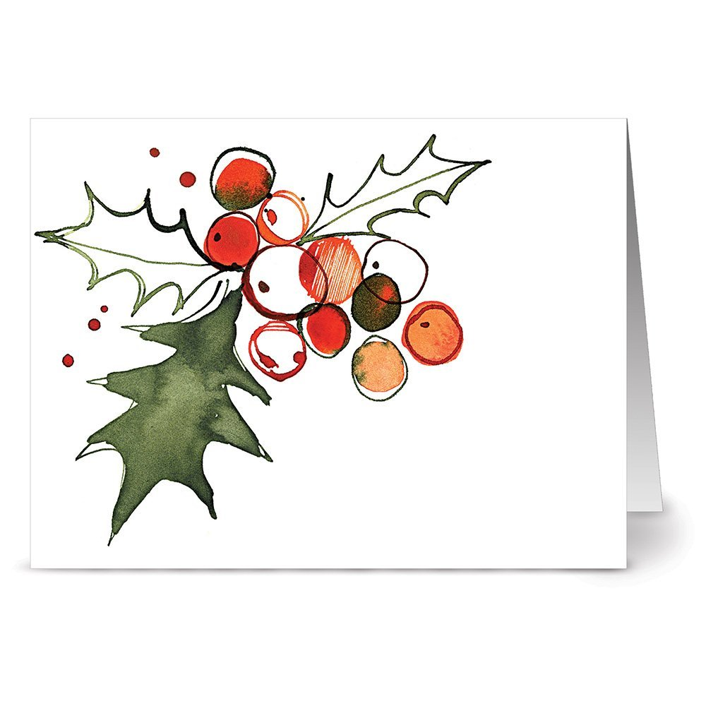 24 Holiday Cards - Holly Leaves - Blank Cards - Green Envelopes Included