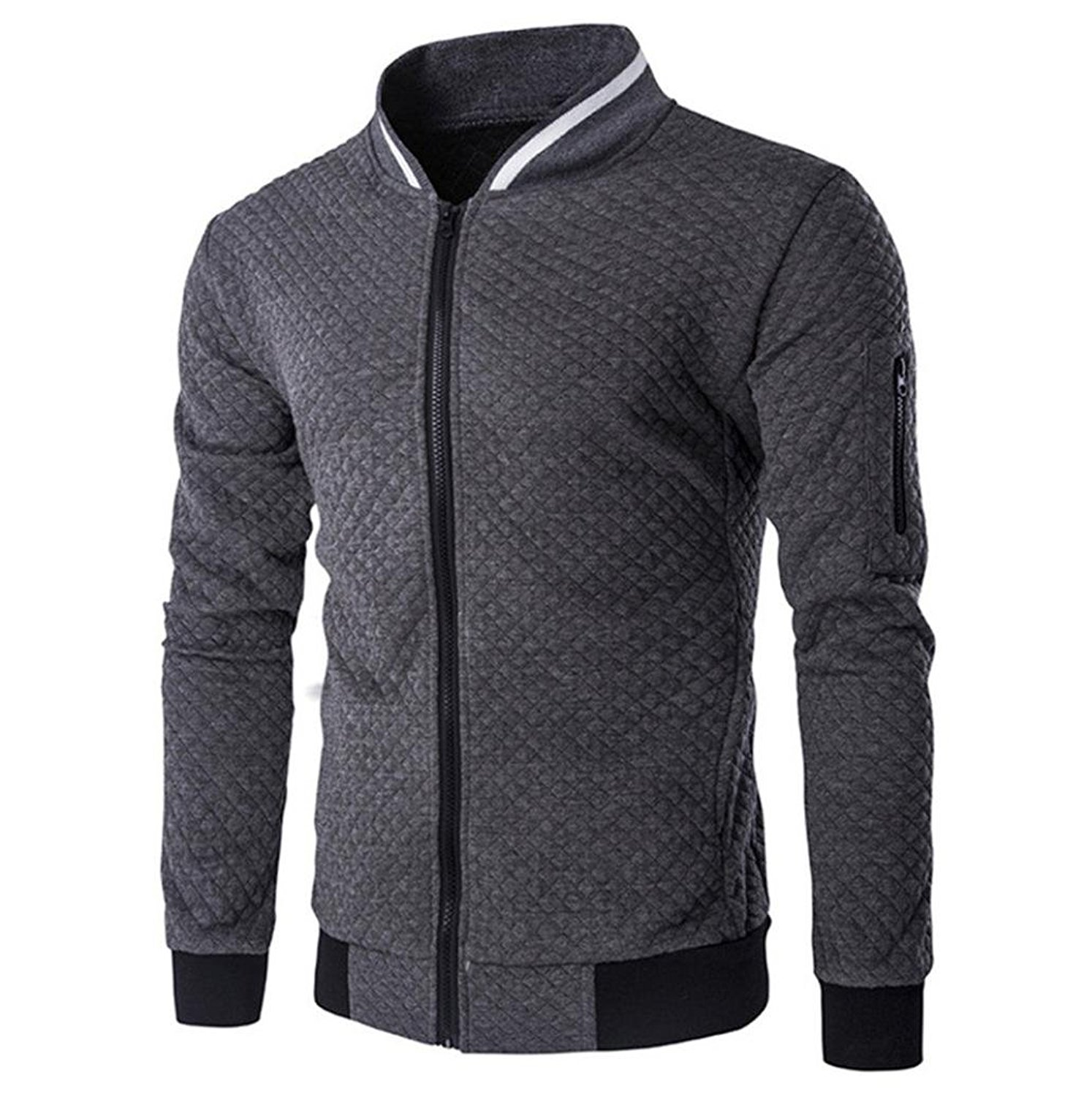 HTHJSCO Tops Jacket Coat, Mens Casual Soft Lightweight Zip up Baseball Collar Bomber Jacket with Diamond Plaid