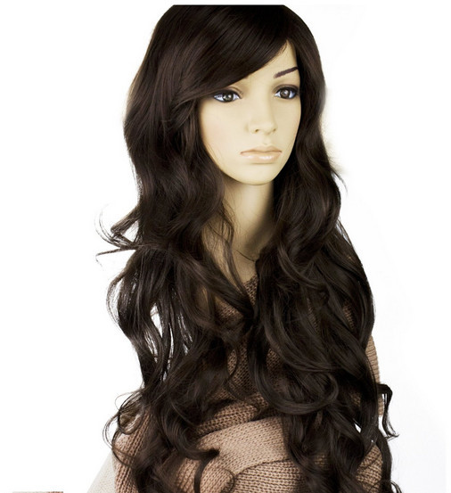 Fire Glamour Long Full Curly Wig new 2015 sexy wig women synthetic party wigs masquerade with oblique bangs female elegant wigs