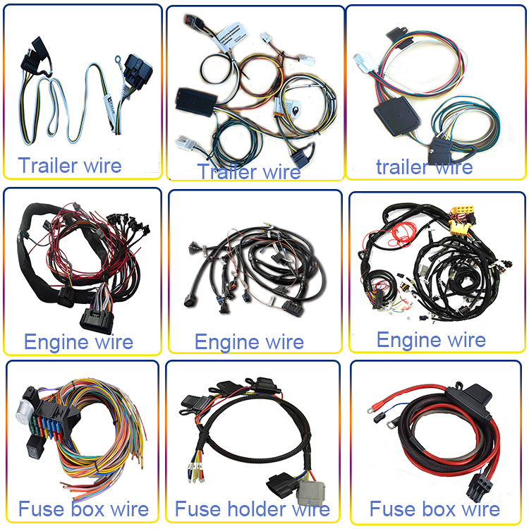Automotive trailer light 6 pin connector wire harness