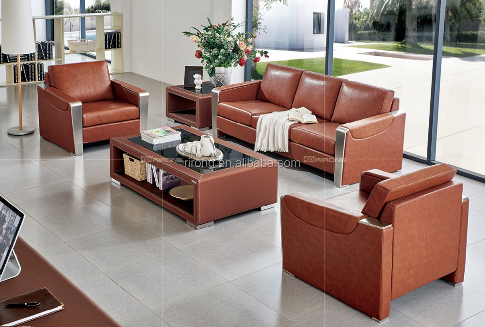 Top Quality Office Stainless Steel Leather Sofa Design Set ...