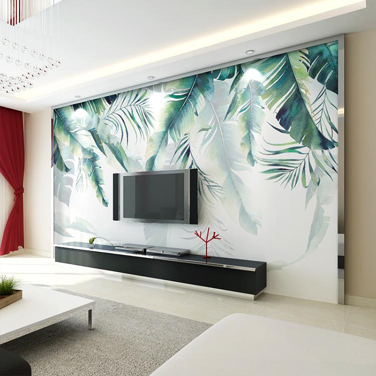 Livingroom Green Tropical Palm Banana Leaf Wall Tv Cabinet Wallpaper Modern European Design Buy Wallpaper Modern Design Leaf Wallpaper Green Leaf